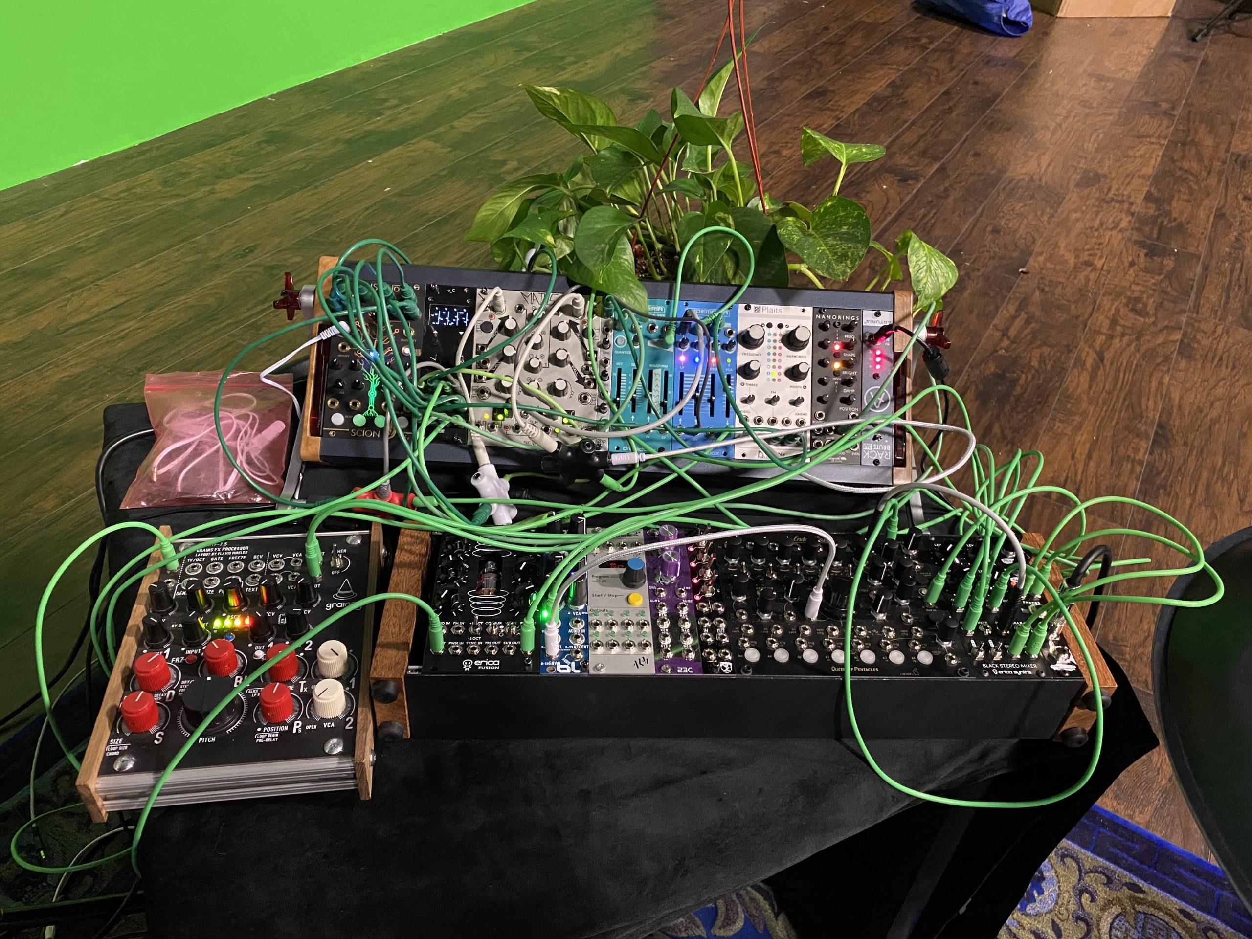 Eurorack modules connected to a Biofeedback sensor